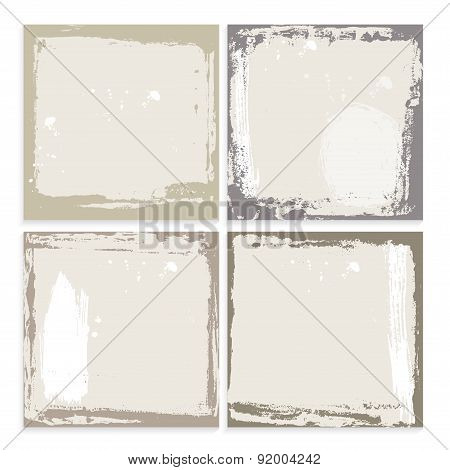 Abstract grunge frame set. brown beige and white Background template. Vector