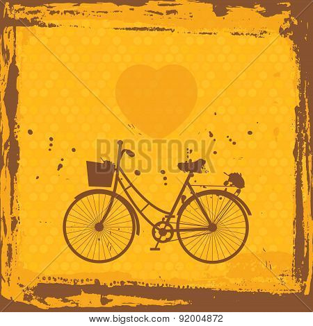 Abstract grunge frame. bicycle silhouette on orange background template. Vector