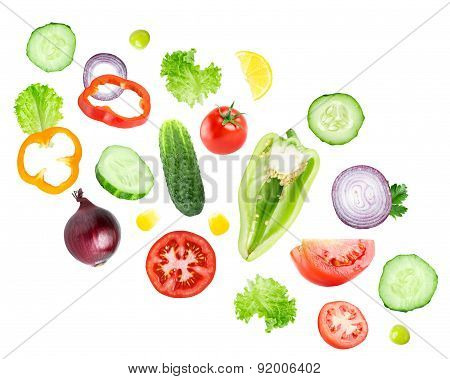 Mixed Falling Vegetables
