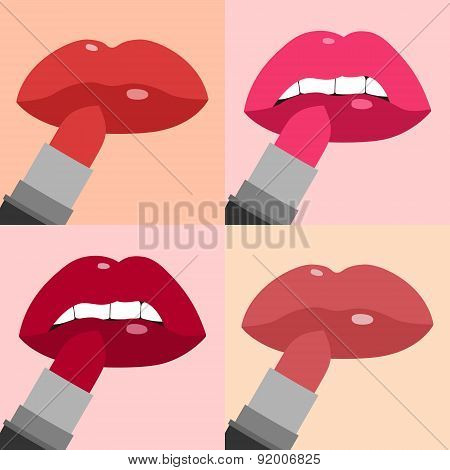 Lips with lipstick flat icons set