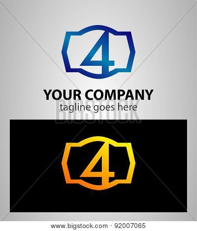 Number logo design.Number four logo.Logo 4 vector template