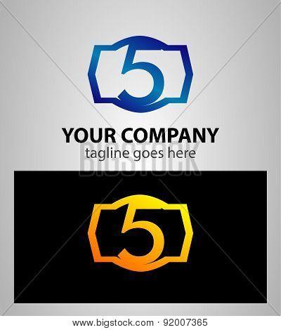 PrintNumber logo design.Number five logo.Logo 5 vector template