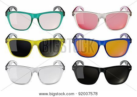 Colored glasses isolated on white background 1