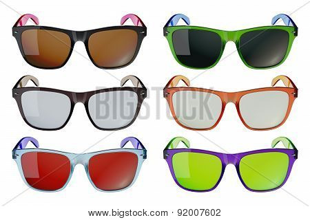 Colored open glasses isolated on white background
