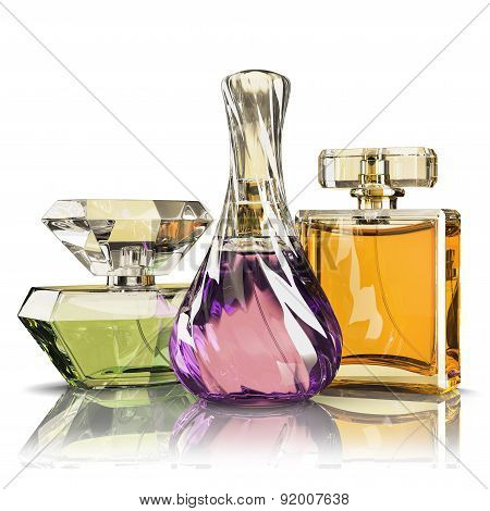 Group Parfume Bottle Isolated