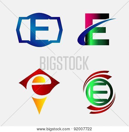 Set of Logo E Letter company vector design template