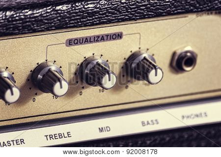 Close-up of a guitar amplifier
