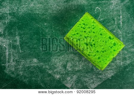 Green Sponge And Chalkboard, Back To School