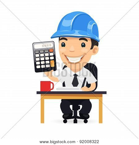 Engineer Cartoon Character with Calculator
