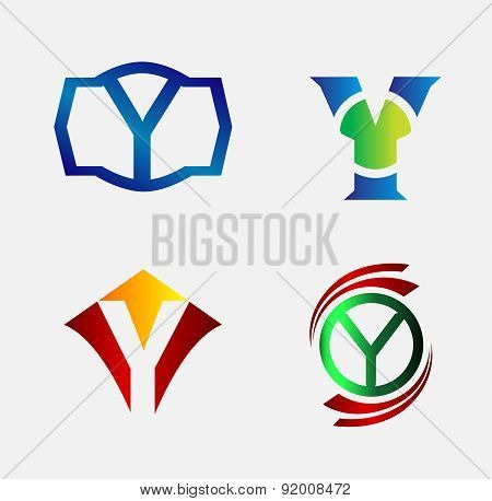 Set of Decorative Letter y - Icons Logo and Elements