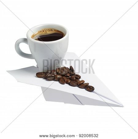 Coffee Cup On A Paper Plane