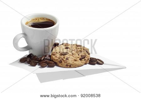 Coffee And Cookie On A Paper Airplane