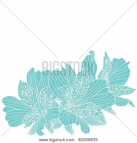 Blue Alstroemeria Flowers Drawing