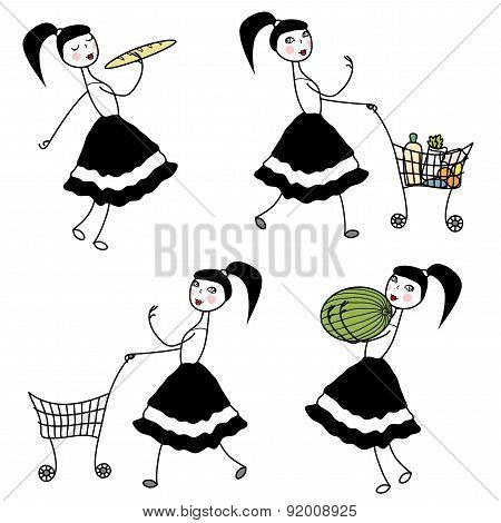 Girl Character Buying Food