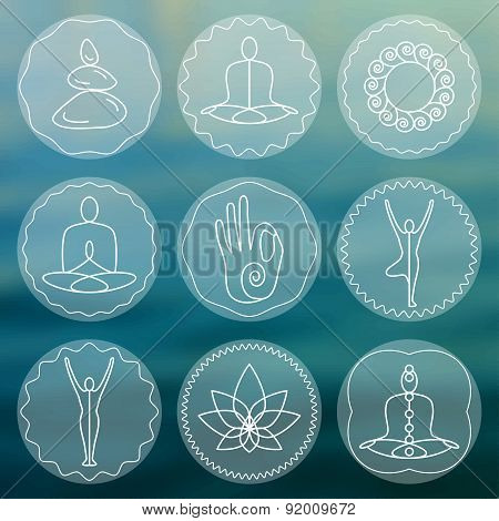 Set of linear yoga icons, yoga logos in outline style.