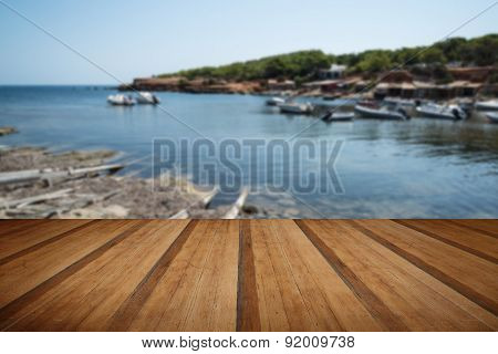 Landscape Image Of Old Mediteranean Fishing Village In Ibiza With Wooden Planks Floor