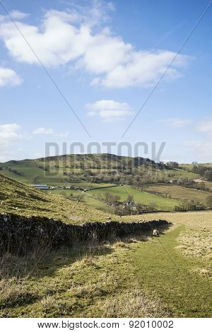 Beautiful Landscape Of Peak District In Uk With Famous Stone Walls On Sunny Day