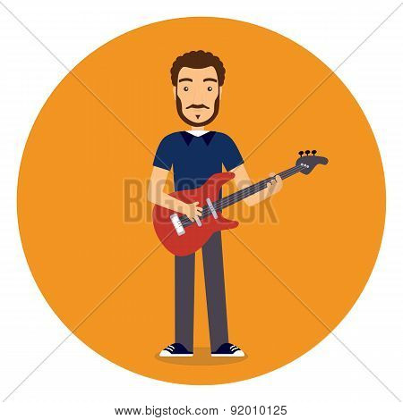 Flat Rock Musician With Guitar