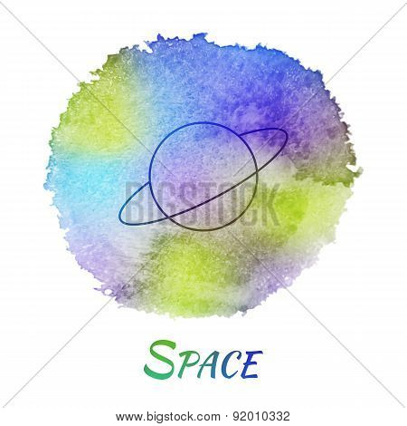 Planet Space Astronomy Vector Watercolor Concept