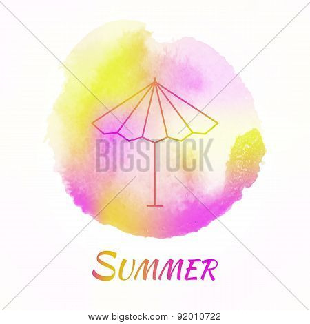 Summer Sun Umbrella Vector Watercolor Concept