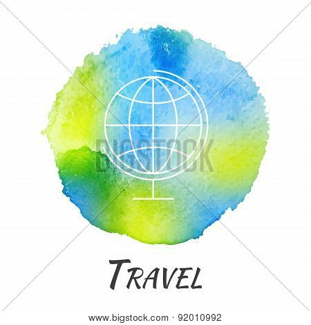 World Globe Travel Vector Watercolor Concept