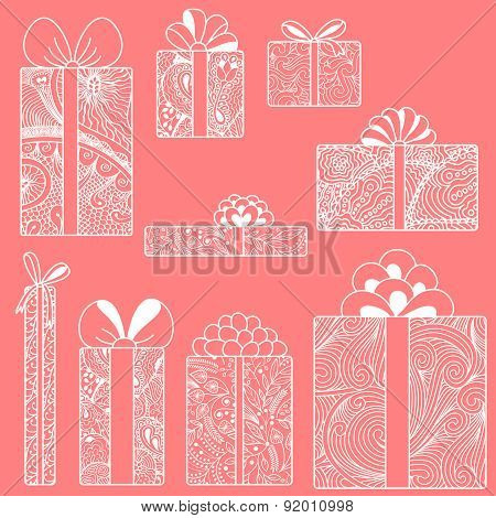 White Gift Boxes Set On Pink Background