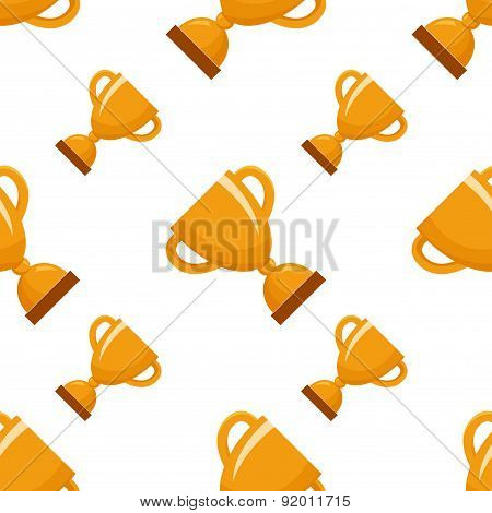 Seamless pattern with gold winners cup