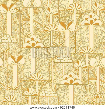 Seamless Gift Boxes Pattern In Beige Colors