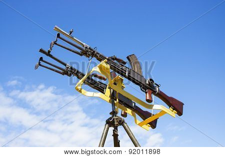 Machine Gun On A Stand Against The Sky