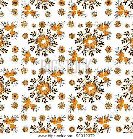 Golden Bell Flowers On A White Background,seamless
