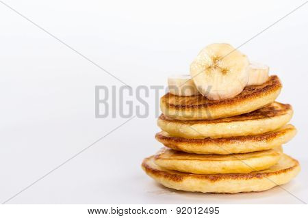 isolated desert - stack of pancake with banana