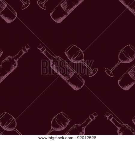 Seamless pattern with hand drawn wine