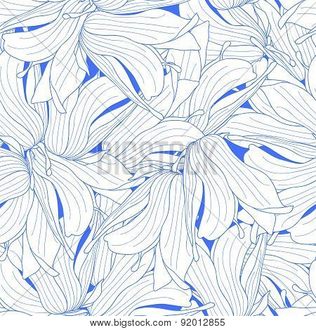 Seamless White Magnolia Flowers Pattern On Blue Background