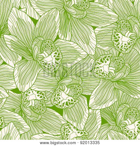 Green And White Orchid Drawing Seamless Pattern