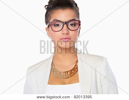 Portrait of businesswoman standing  on white background