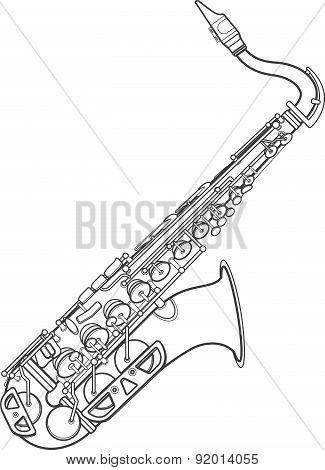Dark Monochrome Contour Brass Alto Saxophone Illustration.