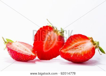 Ripe Red Strawberries On White Background Isolated