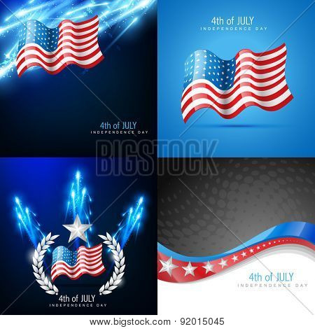 Vector creative set of american flag design background with fireworks