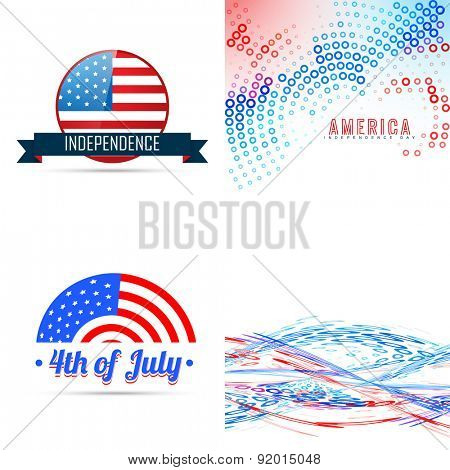 vector 4th of july american independence day background set