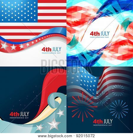 vector collection 4th of july american independence day background with wave