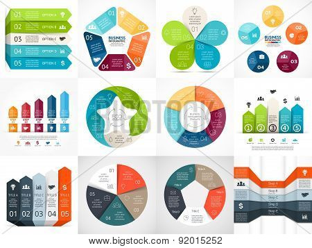 Vector infographic templates set. Template for cycle diagram, graph, presentation and circle arrows