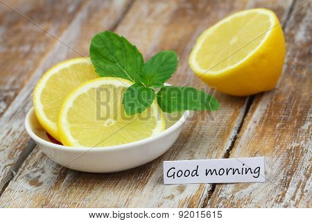 Good morning card with fresh lemon and mint leaves