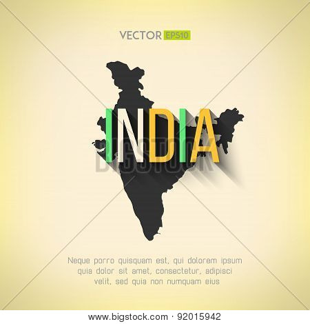 Vector india map in flat design. Indian border and country name with long shadow