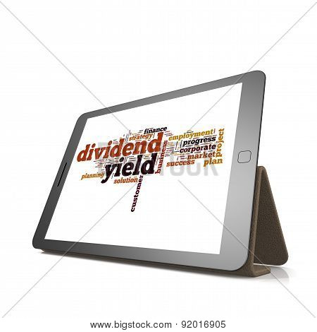 Dividend Yield Word Cloud On Tablet