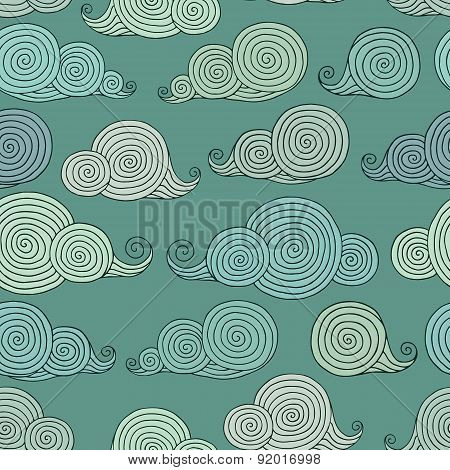 Pattern With Cartoon Clouds