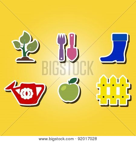 set of color icons with Horticulture