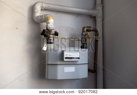 Gas meter on the white wall