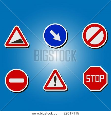 set of color icons with traffic signs