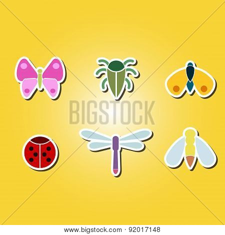 set of color icons with various insects