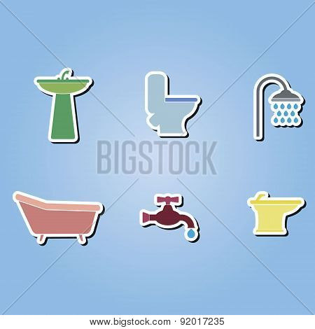 set of color icons with  bathroom icons